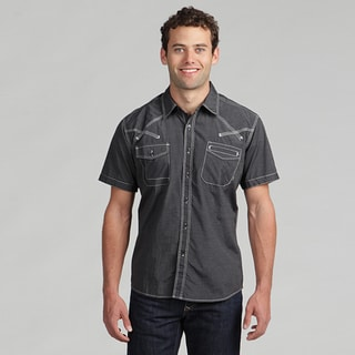 191 Unlimited Mens Black Short-Sleeved Woven Shirt with Stitching Detail