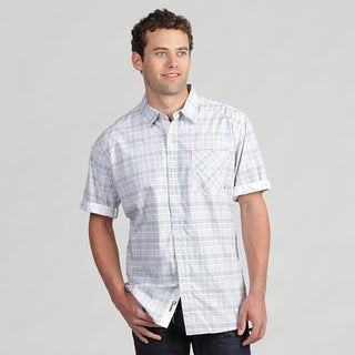 191 Unlimited Men's Button-Front Gray Plaid Woven Shirt