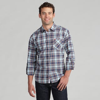 191 Unlimited Mens Blue Plaid Woven Shirt