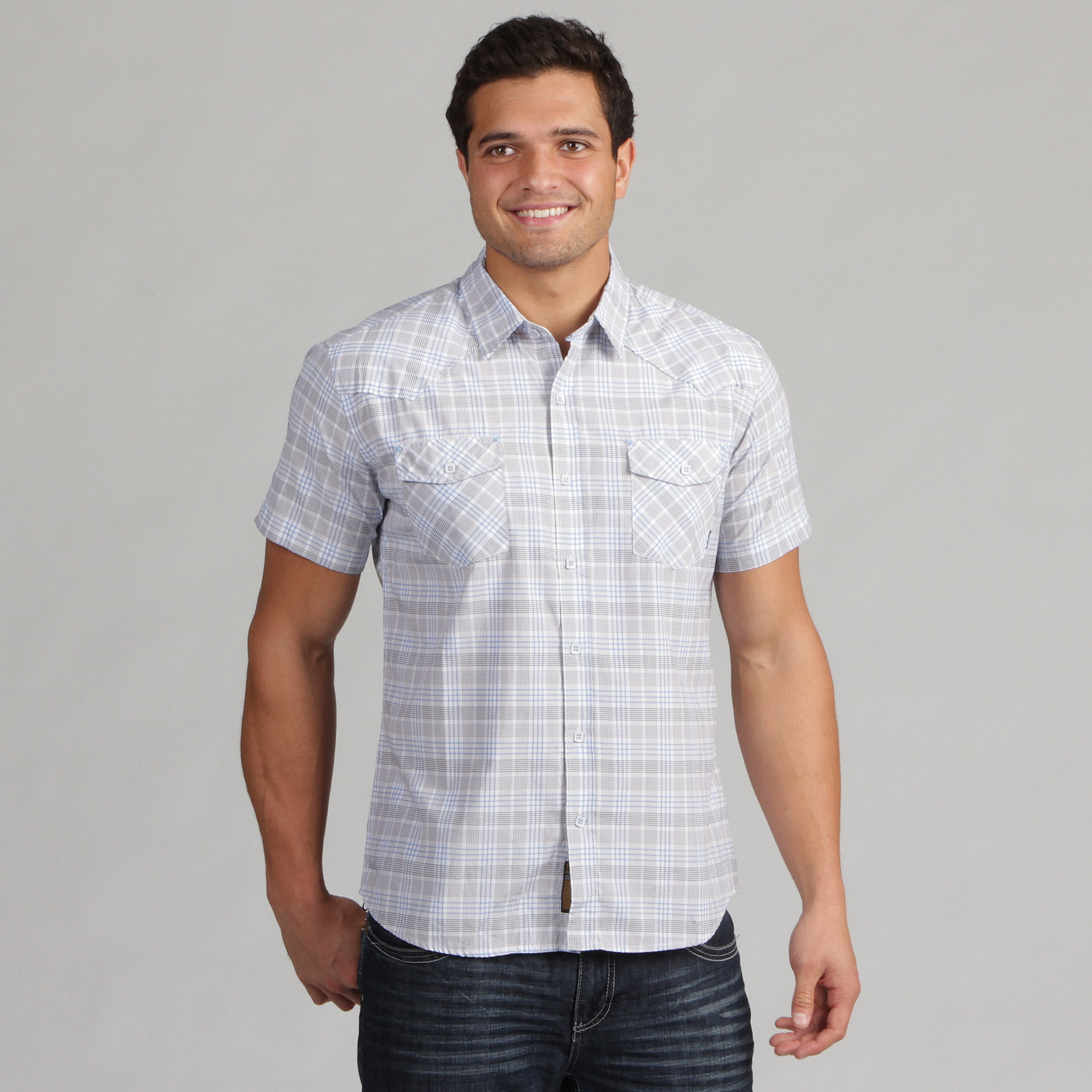 191 Unlimited Mens Grey Plaid Shirt