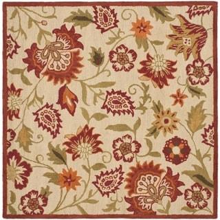 Safavieh Handmade Blossom Paisley Beige Wool Rug (8' Square)