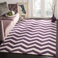 Handmade Chevron Purple/ Ivory Wool Rug (2' x 3')
