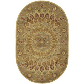 Safavieh Handmade Heritage Medallion Light Brown/ Grey Wool Rug (4'6 x 6'6 Oval)
