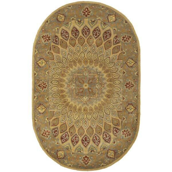 Safavieh Handmade Heritage Medallion Light Brown/ Grey Wool Rug (4'6 x 6'6 Oval)