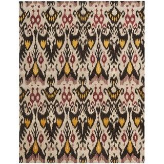 Safavieh Handmade Ikat Beige/ Brown Wool Rug (9' x 12')