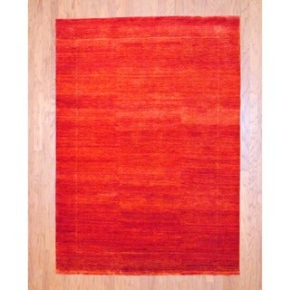 Indo Hand-knotted Gabbeh Red Wool Rug (5'7 x 7'10)