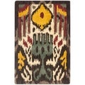Handmade Ikat Cream/ Brown Wool Rug (2' x 3')