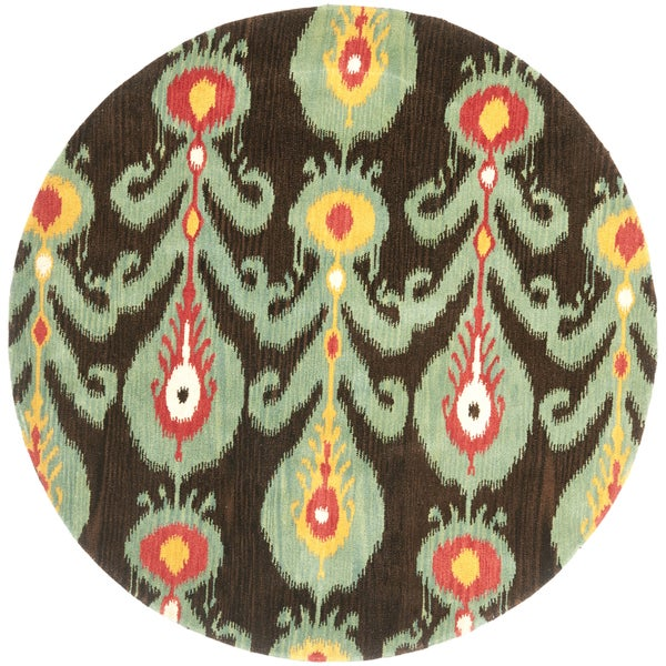 Safavieh Handmade Ikat Charcoal Grey Blue Wool Rug 6