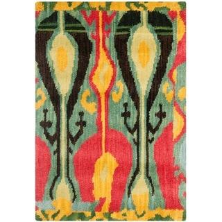 Handmade Ikat Blue/ Green Wool Rug (2' x 3')