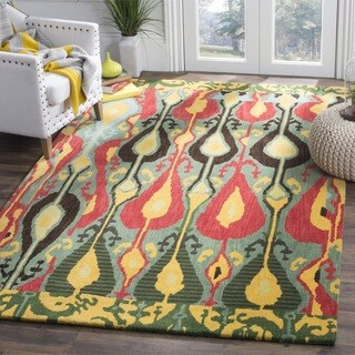 Handmade Ikat Blue/ Green Wool Rug (3' x 5')