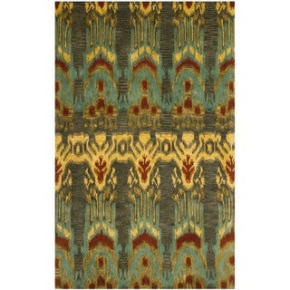 Handmade Ikat Olive/ Gold Wool Rug (8' x 10')