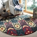 Handmade Ikat Beige/ Blue Wool Rug (6&#39; Round)
