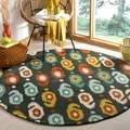 Handmade Ikat Charcoal Grey Wool Rug (6&#39; Round)