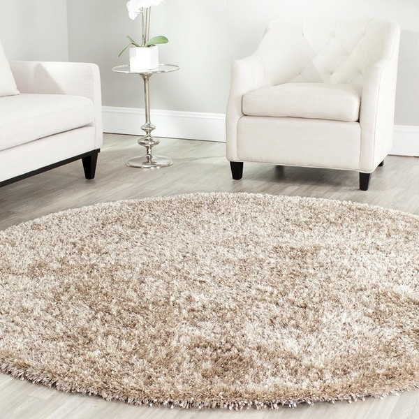 Safavieh Hand-tufted Malibu Shag Natural Polyester Rug (7' Round)