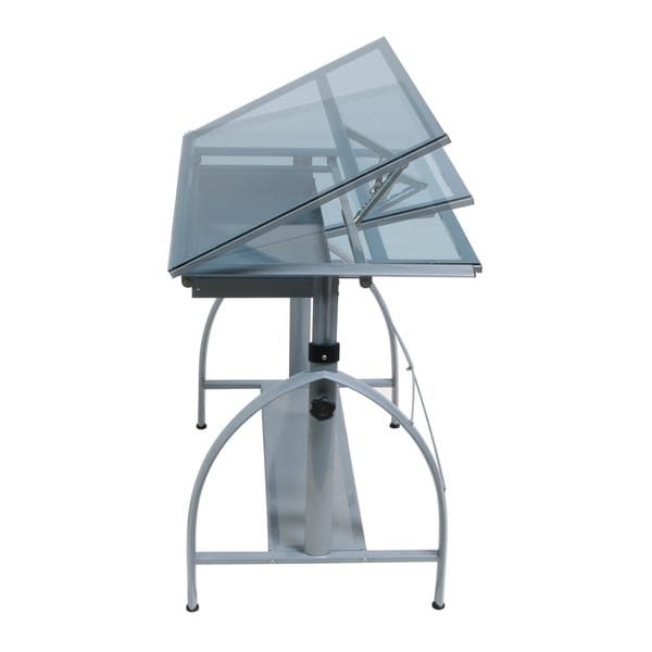 Offex Avanta Drafting Table (Silver/ Blue Glass)