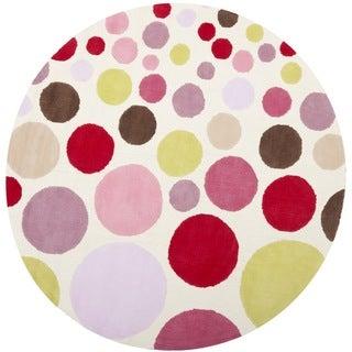 Handmade Children's Bubbles Ivory/ Pink N. Z. Wool Rug (6' Round)