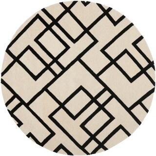 Handmade New Zealand Wool Deco Beige/ Black Rug (6' Round)