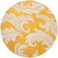 Handmade Soho Gold/ Ivory New Zealand Wool Rug (8' Round)