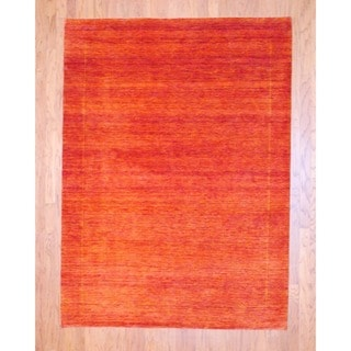 Indo Hand-knotted Gabbeh Red Wool Rug (5'8 x 7'8)