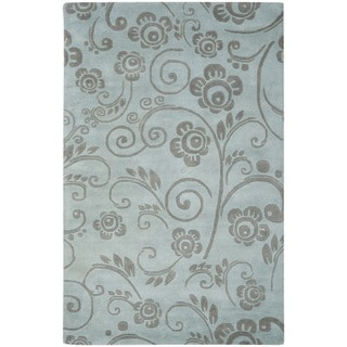 Handmade Soho Scrolls Grey New Zealand Wool Rug