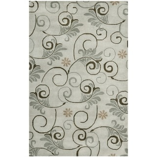 Handmade Soho Garden Scrolls Grey New Zealand Wool Rug