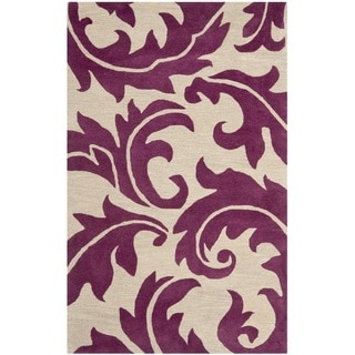 Handmade Soho Purple/ Beige New Zealand Wool Rug