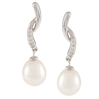 Kabella Sterling Silver Freshwater Pearl with a Single-row Cubic Zirconia By-pass Earrings (8-9mm)