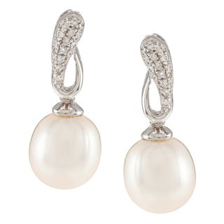 Kabella Sterling Silver Freshwater Pearl with Cubic Zirconia Loop Earrings (9-10mm)