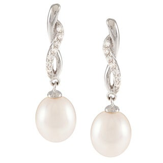 Kabella Sterling Silver Freshwater Pearl with Cubic Zirconia Twist Braid Earrings (8-9mm)