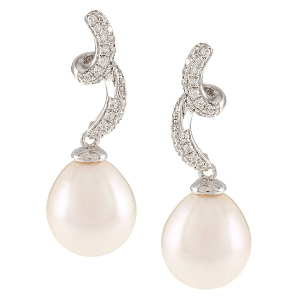 Kabella Sterling Silver Drop Freshwater Pearl with Cubic Zirconia Curl Earrings (9-10mm)