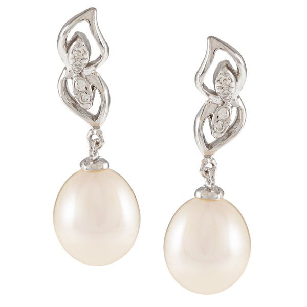 Kabella Sterling Silver Drop Freshwater Pearl with Cubic Zirconia Mirror Leaf Earrings (8-9mm)