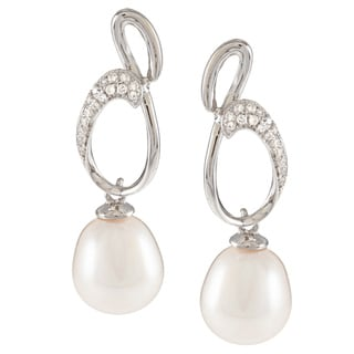 Kabella Sterling Silver Drop Freshwater Pearl with Cubic Zirconia Figure 8 Earrings (9-10mm)