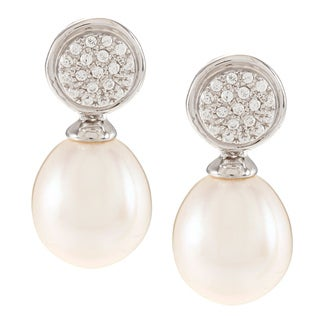 Kabella Sterling Silver Drop Freshwater Pearl with Cubic Zirconia Circle Earrings (9-10mm)