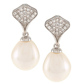 Kabella Sterling Silver Drop Freshwater Pearl and Cubic Zirconia Fan Earrings (9-10mm)