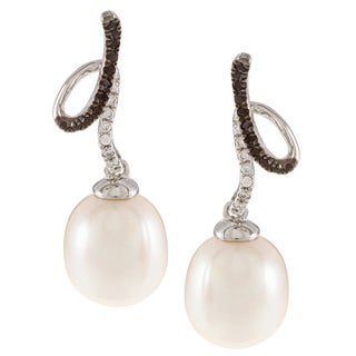 Kabella Sterling Silver Freshater Pearl with Black and White Swirl Dangle Earrings (8.5-9 mm)