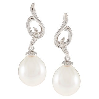 Kabella Sterling Silver Drop Freshwater Pearl with Cubic Zirconia Wave Dangle Earrings (9-10mm)