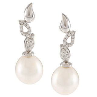 Kabella Sterling Silver Drop Freshwater Pearl with Cubic Zirconia Falling Leaf Earrings (9-10mm)