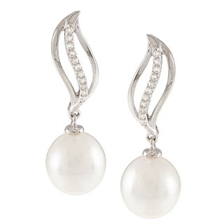 Kabella Sterling Silver Drop Freshwater Pearl with Cubic Zirconia Wave Earrings (9-10mm)