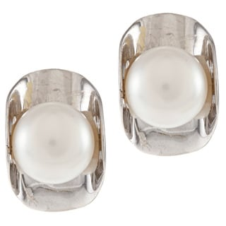 Kabella Sterling Silver Button Freshwater Pearl Wrap Stud Earrings (8-9mm)
