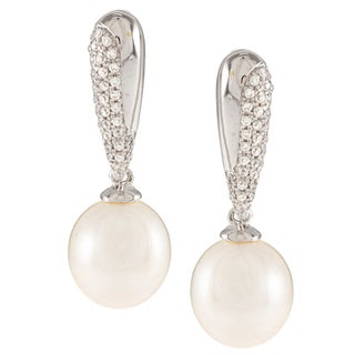 Kabella Sterling Silver Drop Freshwater Pearl with Cubic Zirconia Bar Earrings (9-10mm)