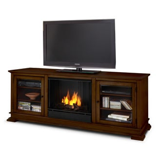 Hudson Real Flame Espresso Ventless Gel Fireplace