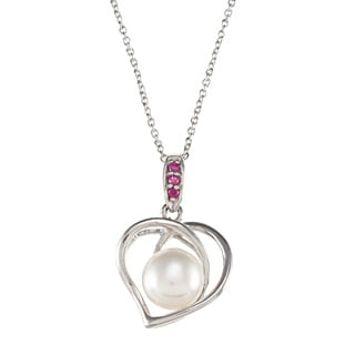 Kabella Sterling Silver Ruby or Sapphire Freshwater Pearl Heart Necklace (8.5-9 mm)