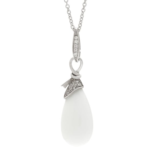 Kabella Sterling Silver White Ceramic Stone Drop Necklace
