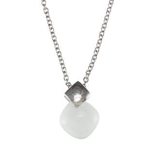 Kabella Sterling Silver Square White Ceramic Stone Necklace