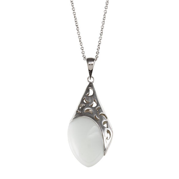 Kabella Sterling Silver White Ceramic Half Moon Design Necklace