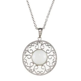 Kabella Sterling Silver Bezel-set White Ceramic Cabochon Medallion Necklace