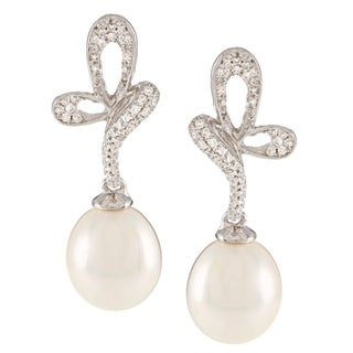 Kabella Sterling Silver Freshwater Pearl with Cubic Zirconia Butterfly Dangle Earrings (9-9.5 mm)