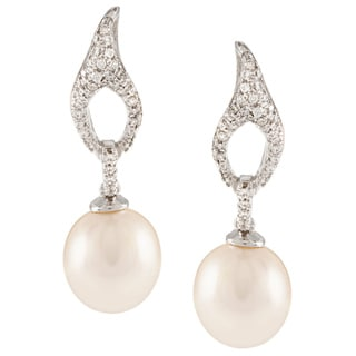 Kabella Sterling Silver Freshwater Pearl with Cubic Zirconia Leaf Dangle Earrings (9-9.5 mm)