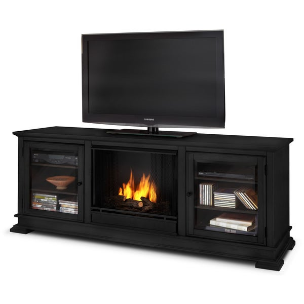 Hudson Real Flame Black Ventless Gel Fireplace