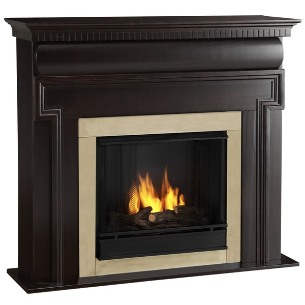 Mt. Vernon Real Flame Dark Walnut Ventless Gel Fireplace